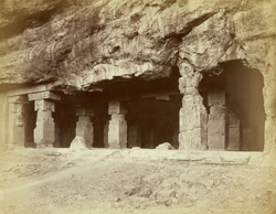 [Close view from the right of the entrance of the Ravana ka khai, Hindu Cave Temple XIV, Ellora.]